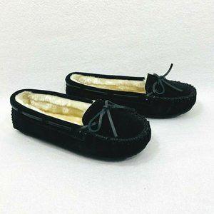 Minnetonka Womens Black Suede Cally Slippers w/Faux Shearling - 7.5M - New